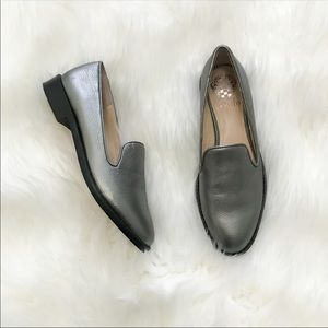 Vince Camuto grey metallic loafers like new